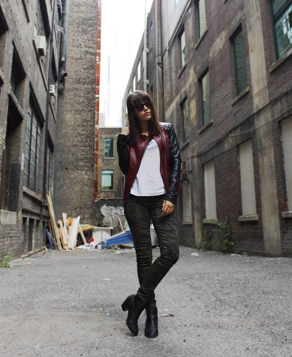 danier_burgundy_biker_jacket_camo_pants_vanessa_cesario