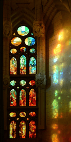 Feature 2. Stained-glass window in Sagrada Familia via Wikimedia Commons