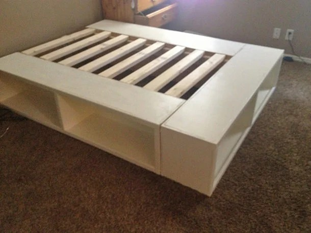 storage bed frame diy