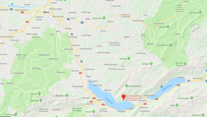 get to st beatus caves from interlaken or bern