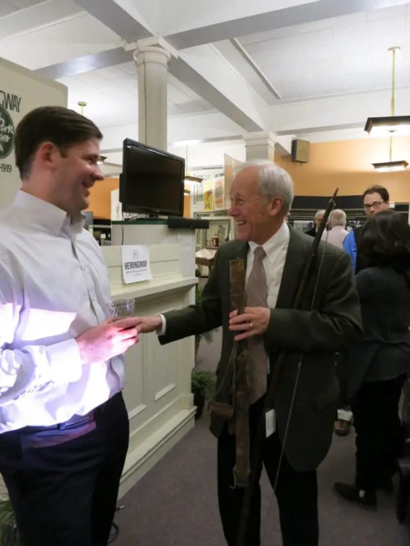 Harry schmoozing with the Hemingway speaker, John Barr.
