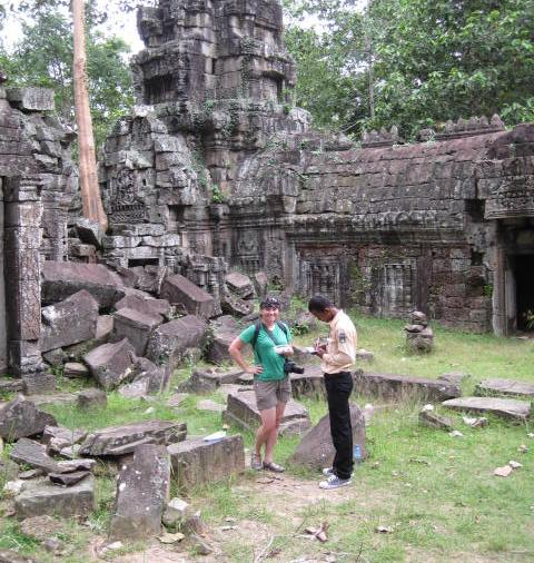 We love to introduce our local guides to geocaching! They are always amazed at the game. We love to show them something new in their own country! This is at the Ta Nei Temple near Siem Reap, Cambodia.