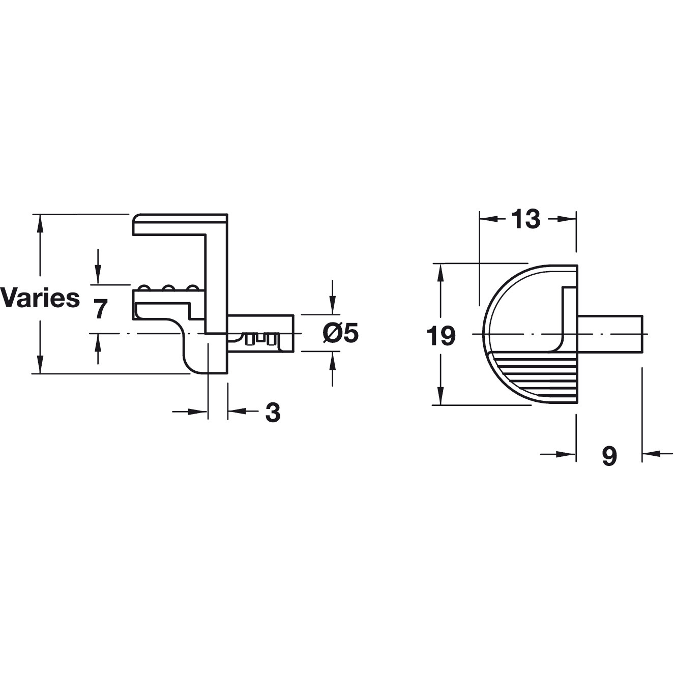 Hafele 282 13 712 Glass Shelf Support For Glass Thickness