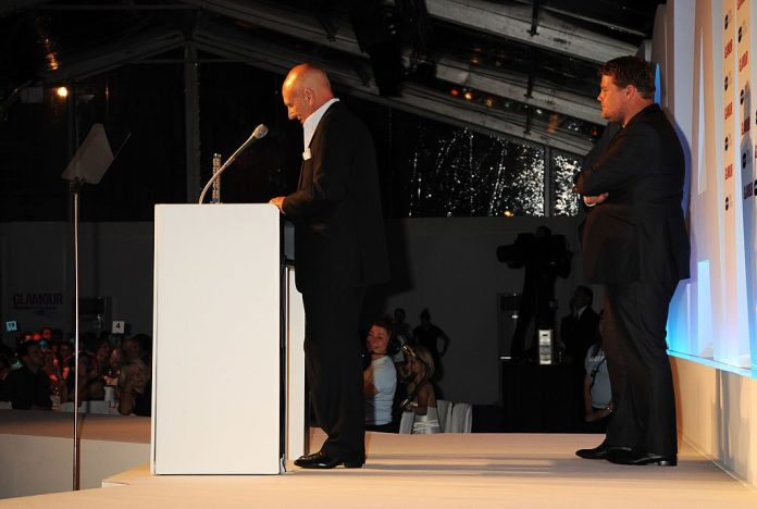 Patrick Stewart and James Corden in a tense moment at the 2010 Glamour Women of the Year Awards