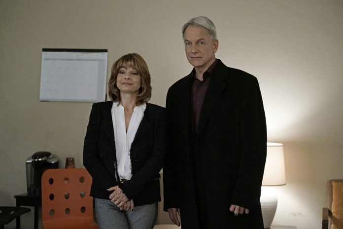 Laura San Giacomo with Mark Harmon. Giacomo plays therapist Grace Confalone on NCIS. | Jace Downs/CBS via Getty Images