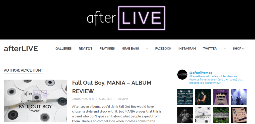 My reviews on afterLIVE