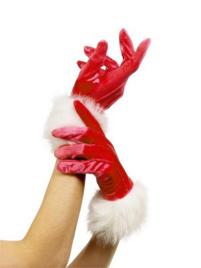 Short Red Velvet Miss Santa Gloves