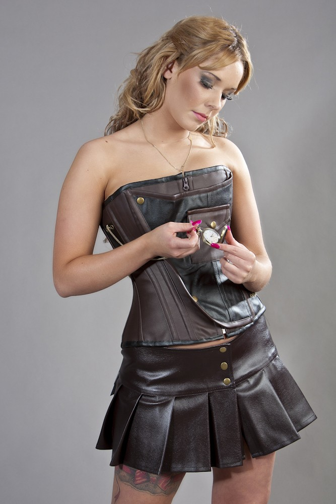 Steampunk Mini Faux Leather Skirt