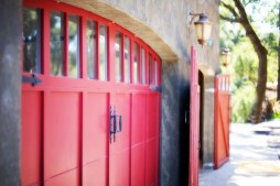 red metal garage door