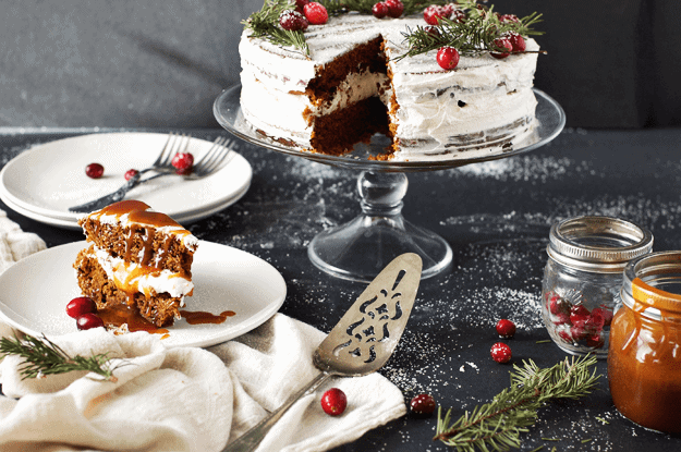 Make this Salted Caramel Gingerbread Cake with Orange Buttercream as a decadent dessert for a special occasion. It's perfect for holiday parties or birthdays. || The Butter Half #gingerbread #gingerbreaddesserts #gingerbreadcake #saltedcarameldesserts #holidaydesserts #thebutterhalf