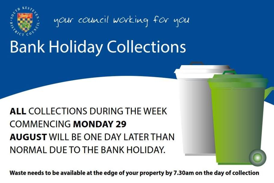 Bank Holiday bin collections : August 2016