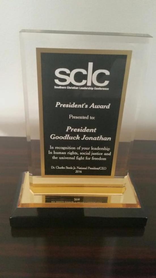 Goodluck JOnathan sclc Award