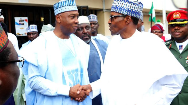 Image result for Nigerians await Buhari's reaction to allegations against Oshiomhole, says Saraki