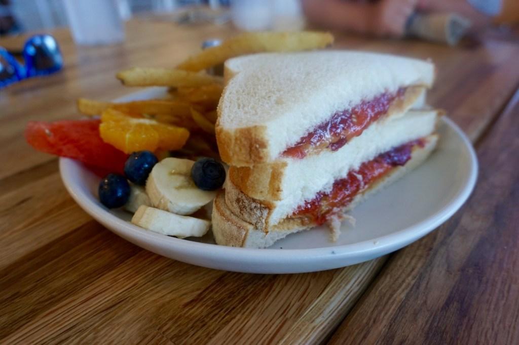 Kids will love the option of ordering a PB&J sandwich for breakfast!