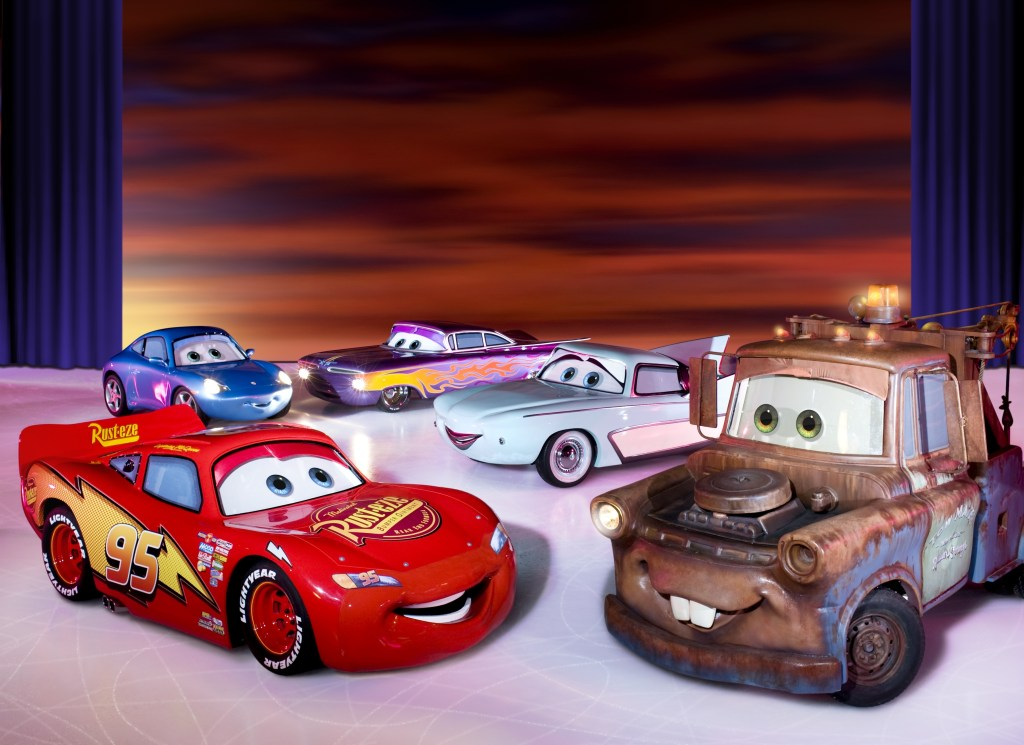 Characters from the movie Cars make an appearance in Disney on Ice presents Worlds of Enchantment. Photo provided by Feld Entertainment.