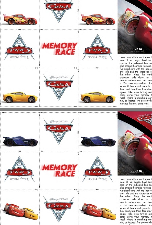 Free activity sheets for Cars 3:  Memory Race