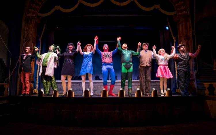 The cast from The Incredible Spider-Guy! Photo provided by The Gaslight Theatre.