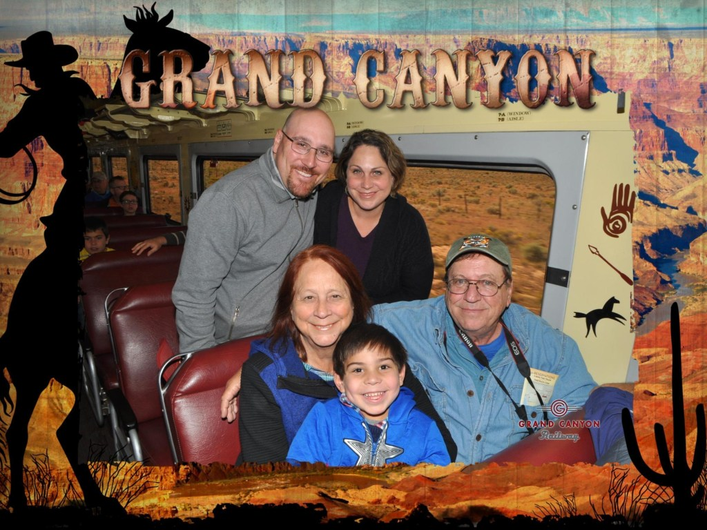 A photographer from Magic Memories is on site at many attractions throughout the world. I loved how our family photo from the Grand Canyon railway turned out.