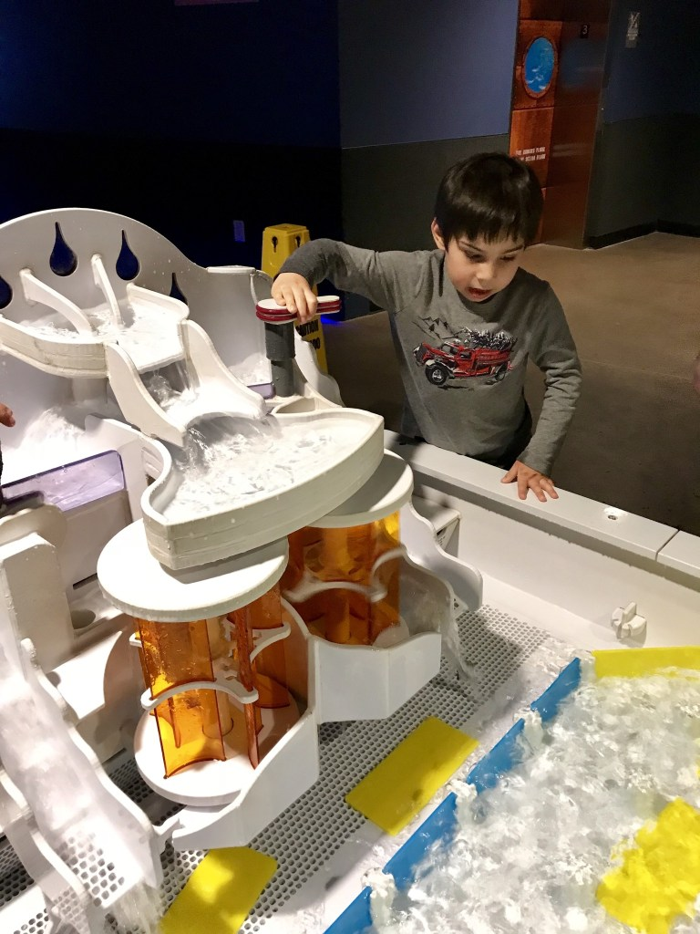 Kids can learn more about water flow at the OdySea Aquarium.