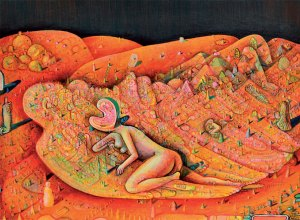 Hot Dream of Watermelon, acrylic & mixed media on paper by Andrew Abbott