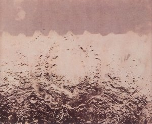 "Untitled (Moonscape with 3 arrows), 1964-76, verifax collage with writing, 8""x6-1/2"" by Wallace Berman"