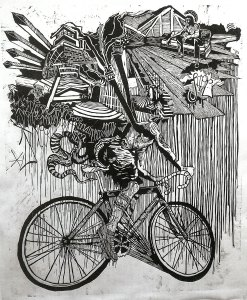 Can't Stop Won't Stop, woodcut by Kyle Bryant