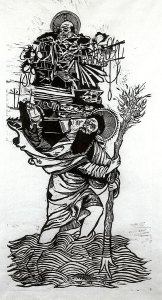 St. Christopher, woodcut by Kyle Bryant