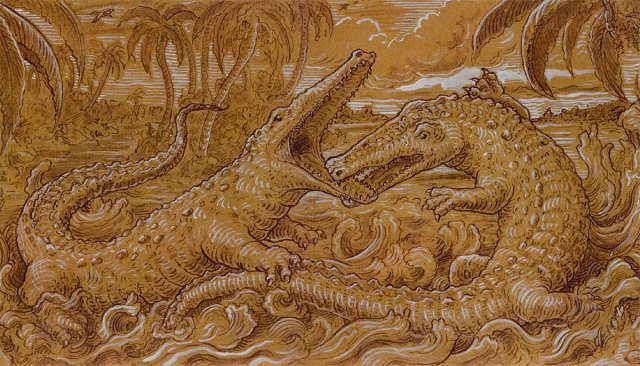 "Fighting Crocodiles (detail), ink and gouache drawing 75""x18"" by Stephen Burt"
