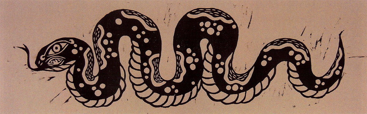 untitled, relief print from woodcut blocks by Jake Cassevoy
