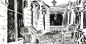 Marble House, pencil, brush and ink by Michael Johnston