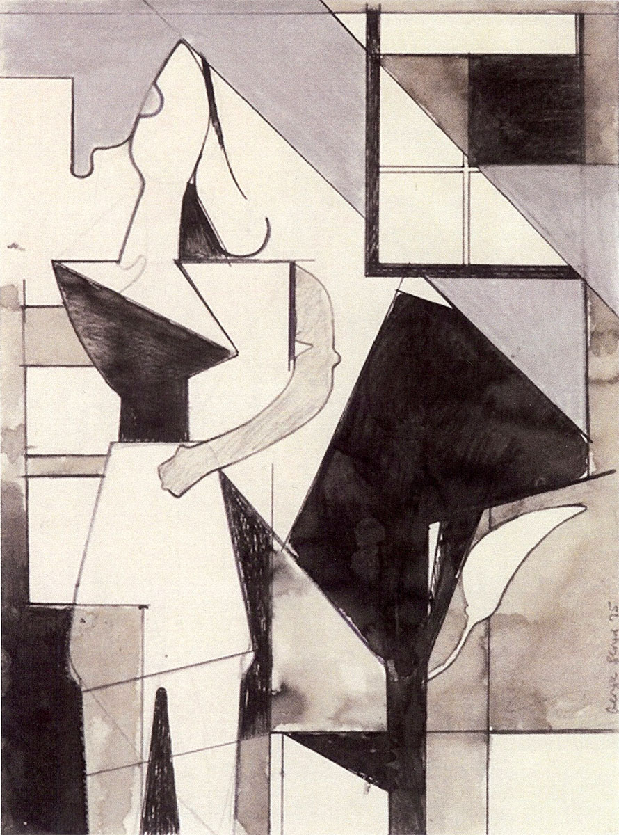 "Composition w/Standing Woman 1975 Berkeley CA, 12""x9"" ink etc. on paper, collection John and Sara Butler, Newton MA by George Lloyd"