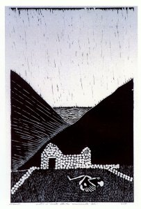 The Dreaming of the Bomes, woodcut by Nonie O'Neill