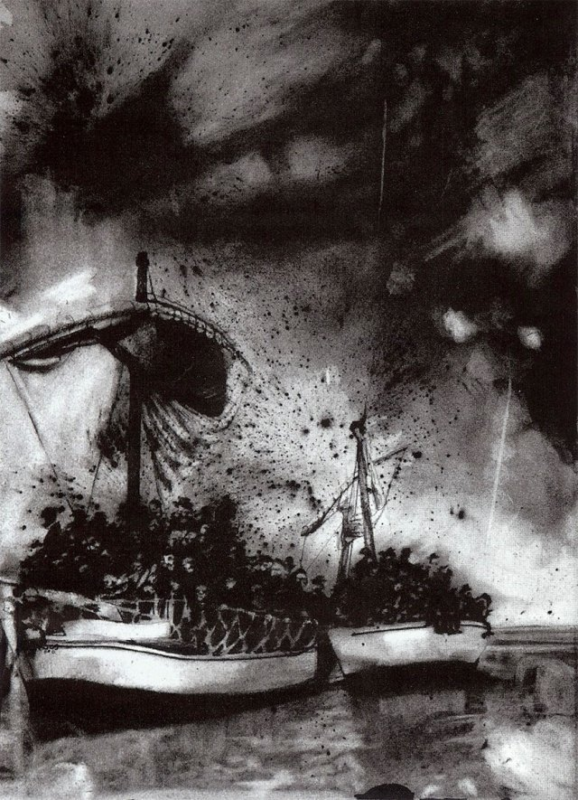 "Rockets Red Glare, charcoal on paper, 22""x30"" by Lisa Pixley"