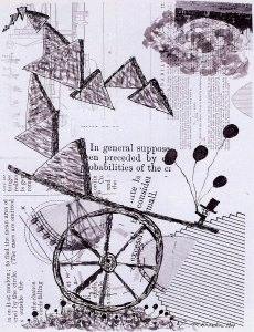 Hope Is Not Weightless, collage with pen & ink by Marc Shanker