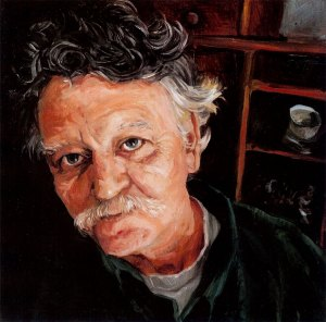 "Robert Vandermolen, black oil on copper, 6""x6"", 2005 by Jack Richard Smith"