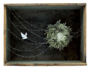 Allison May Kiphuth, The Labyrinth, ink, watercolor, paper, pin and thread in antique box