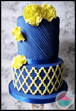 Blue And Yellow Wedding Cake By Time For Tiffin