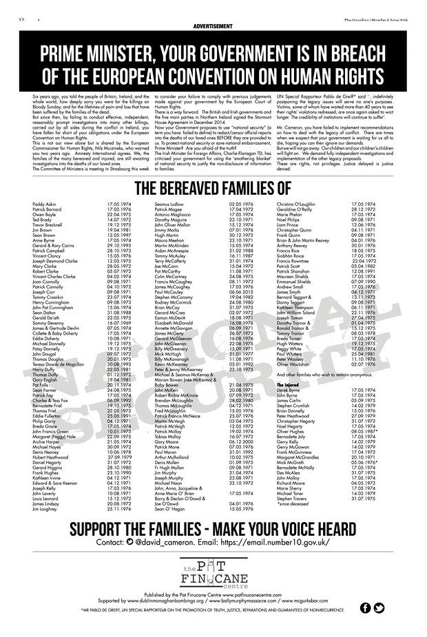 Bereaved Families advertisement