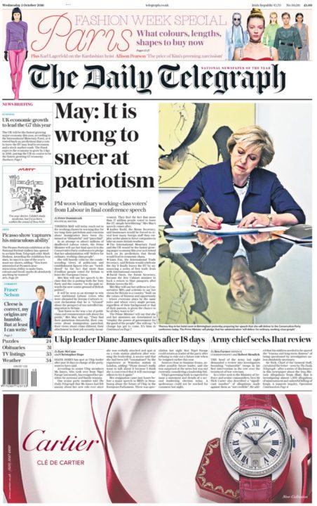 """Telegraph - May """"Wrong to sneer at patriotism"""""""