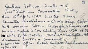 Mawby's handwritten notes about fellow Tory MPs (via BBC)