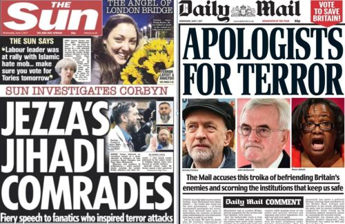 Front pages from the Sun and Mail smearing Corbyn