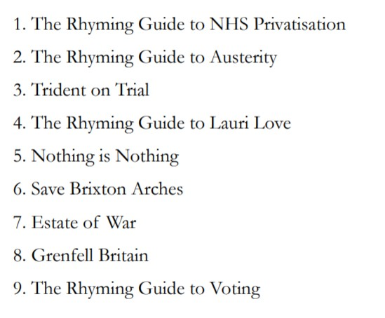 Potent Whisper's new book The Rhyming Guide to Grenfell Britain