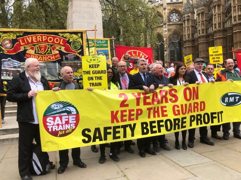 The RMT union organised a rally outside parliament