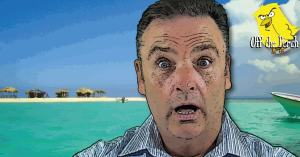 A surprised-looking middle-aged man on a desert island