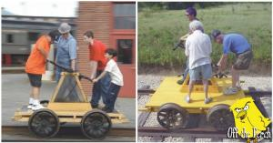 Pictures of people on a railroad handcar/pump-trolley