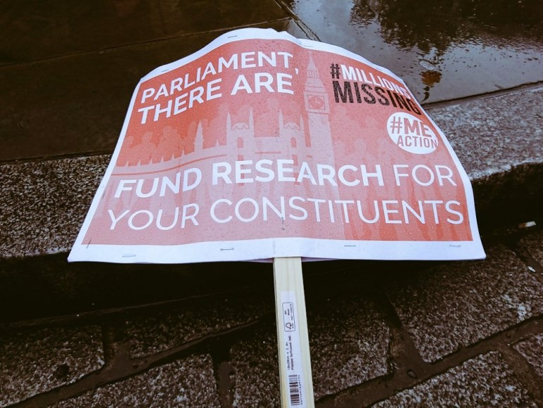 A placard from the Missing Millions demo