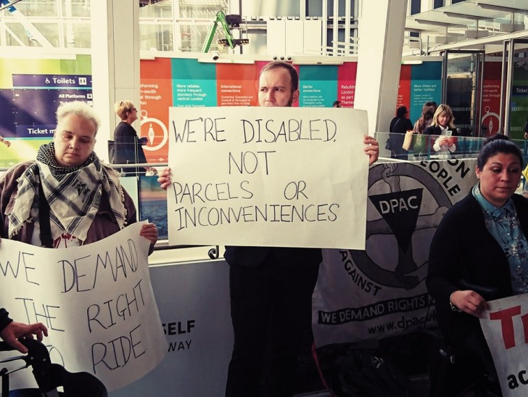 A placard from the no right to ride demo