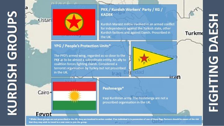 Flags belonging to the PKK, YP and Peshmerga are lumped together, despite the fact that they are completely eperate groups