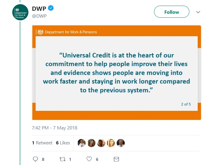 Second DWP Universal Credit tweet