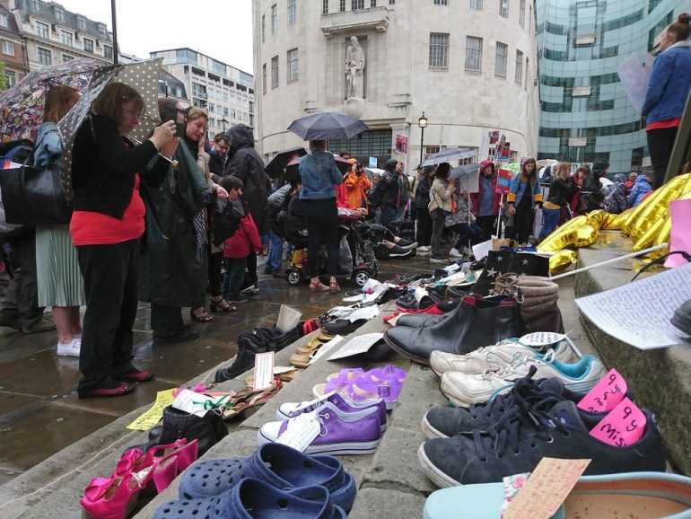 The Missing Millions shoes and BBC Broadcasting House